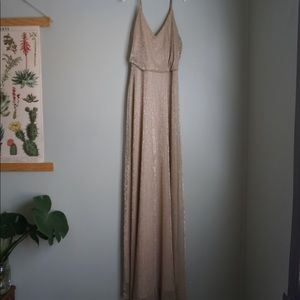 LuLu's Gold/Champagne Strappy Floor Length Dress